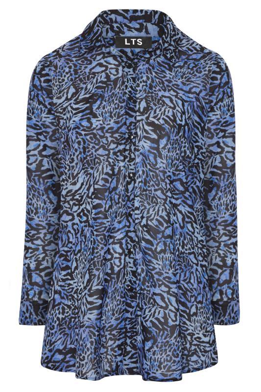 LTS Blue Mixed Animal Longline Chiffon Shirt_F.jpg