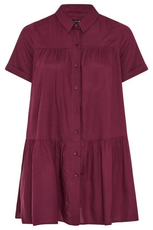 Burgundy Tiered Smock Longline Shirt_F.jpg