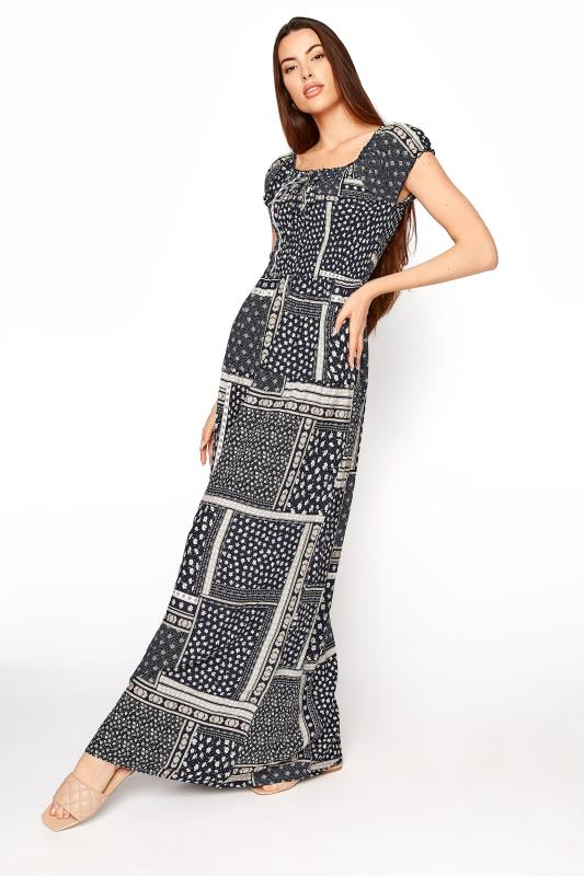 LTS Navy Shirred Bardot Maxi Dress_A.jpg