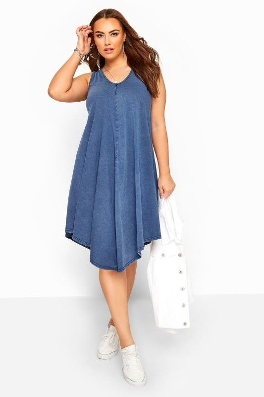 Großen Größen Casual Dresses Blue Chambray Denim Look Swing Dress