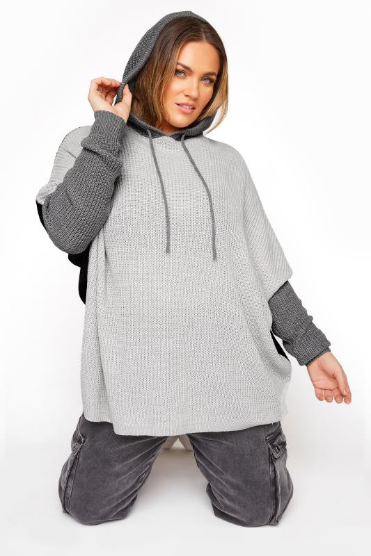 Plus Size  Grey Colour Block Oversized Knitted Hoodie