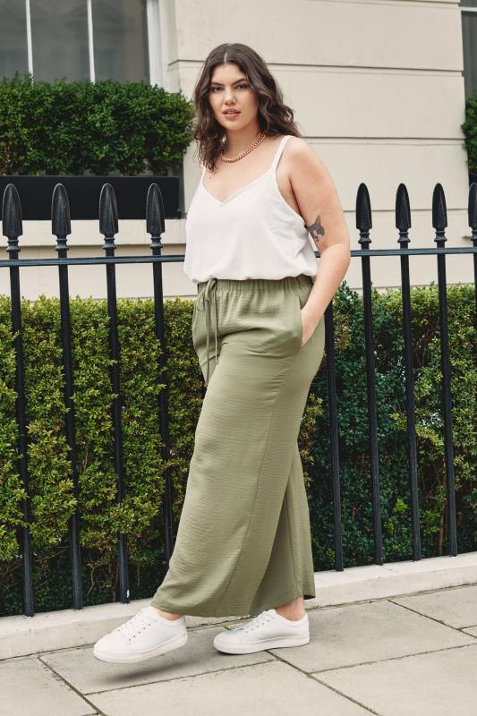 THE LIMITED EDIT Olive Green Wide Leg Trousers_L.jpg