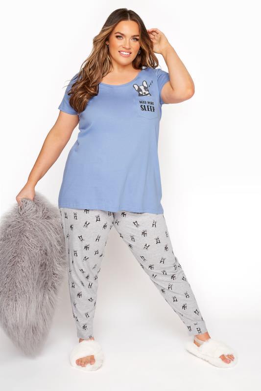 Plus Size  Pale Blue 'Need More Sleep' Slogan Pyjama Set