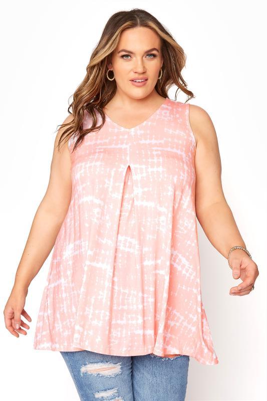 Plus Size  Pink Tie Dye Swing Vest