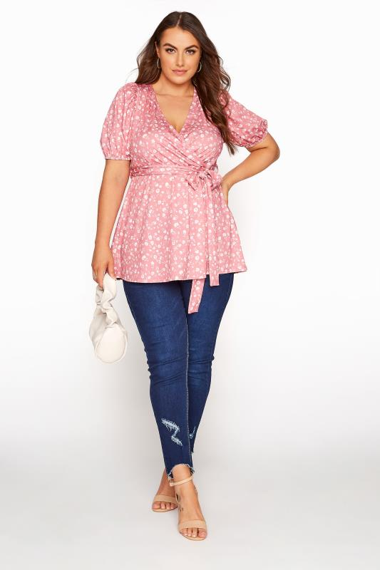 YOURS LONDON Pink Ditsy Puff Sleeve Wrap Top_B.jpg