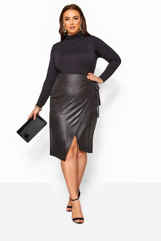 Plus-Größen Midi Skirts LIMITED COLLECTION Black Leather Look Tie Waist Wrap Skirt
