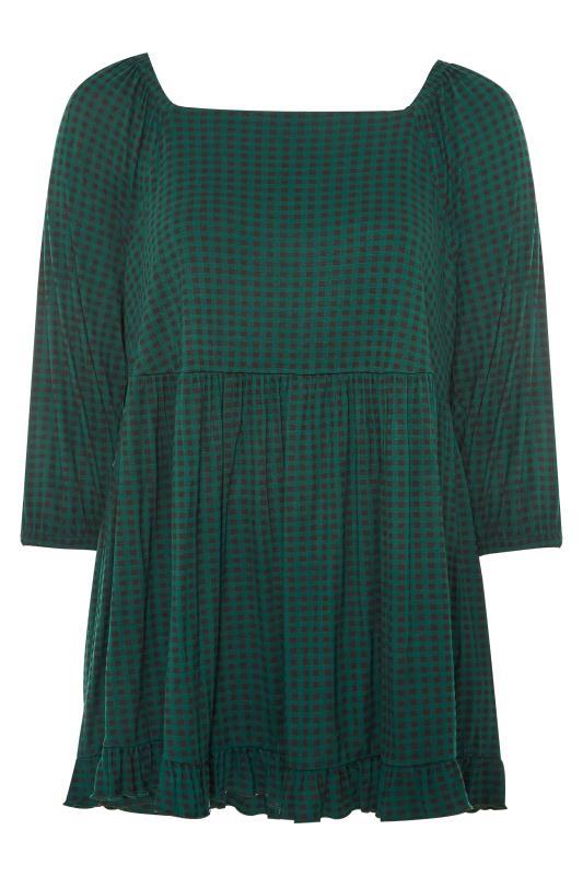 Plus Size  Green Check Square Neck Top