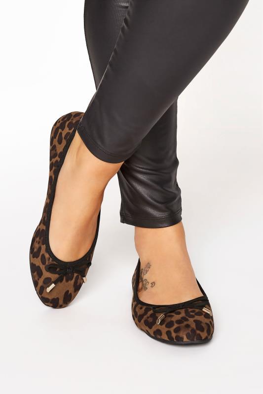 Plus Size  Leopard Print Ballet Pumps In Extra Wide Fit