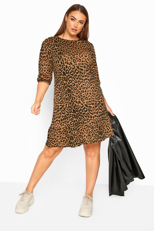 Plus Size Casual Dresses LIMITED COLLECTION Brown Leopard Print Smock Dress
