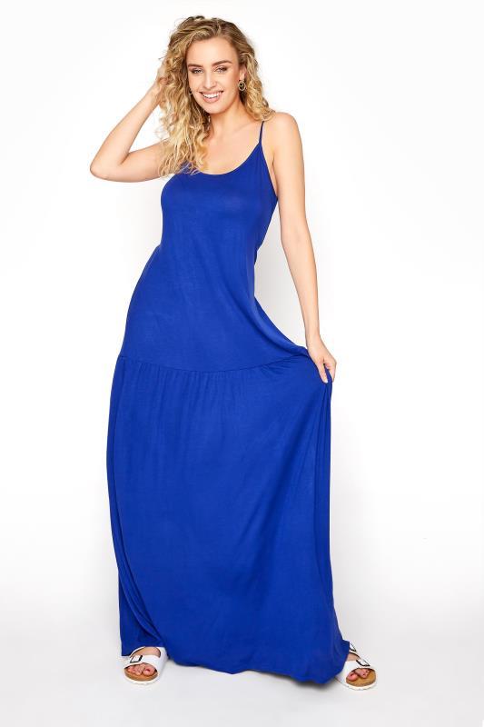 LTS Cobalt Blue Strappy Drop Waist Maxi Dress_A.jpg