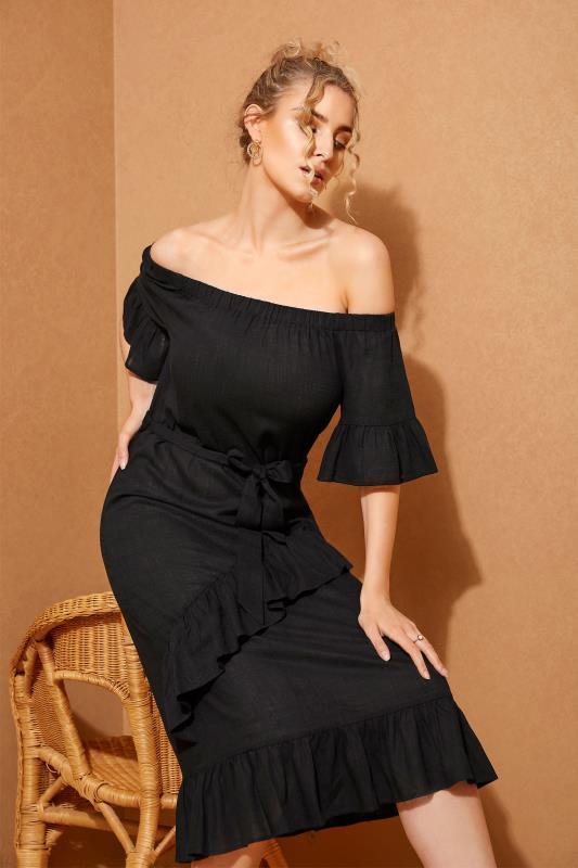 LTS Black Linen Bardot Frill Dress_L.jpg