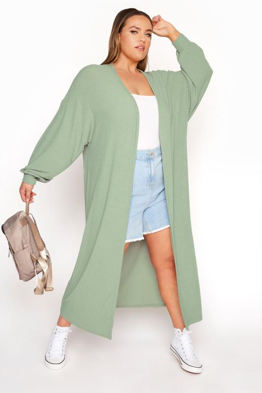 LIMITED COLLECTION Sage Green Long Cardigan_A.jpg