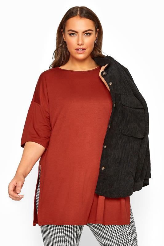 Plus Size Basic T-Shirts & Vests Chestnut Brown Jersey Oversized T-Shirt
