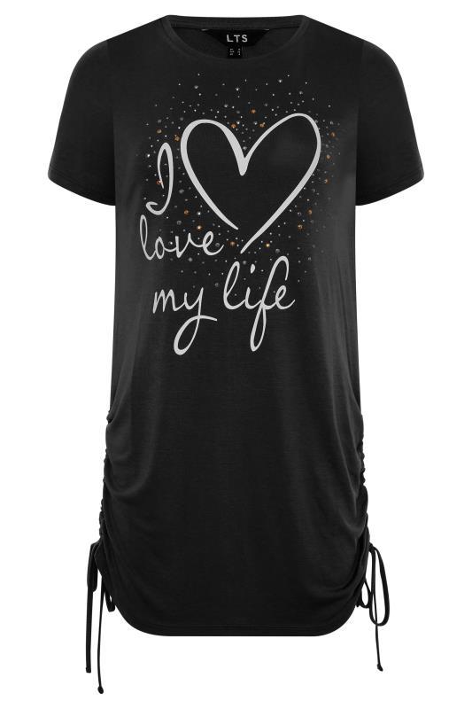 LTS Black 'I Love My Life' Ruched Side Tunic_F.jpg