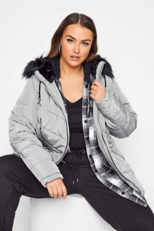 Plus Size  Grey PU Trim Panelled Puffer Jacket
