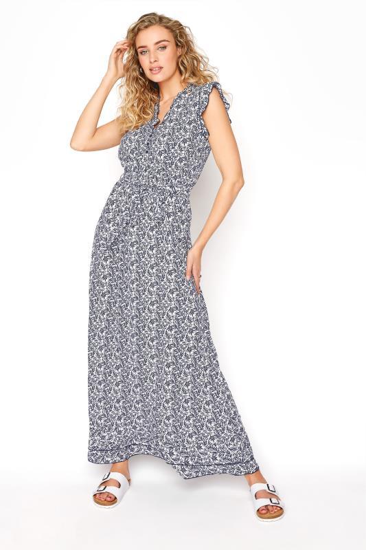 LTS Blue Leaf Print Maxi Dress