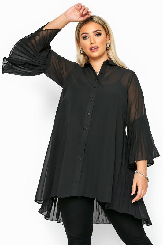 Plus Size Shirts Black Pleated Longline Shirt