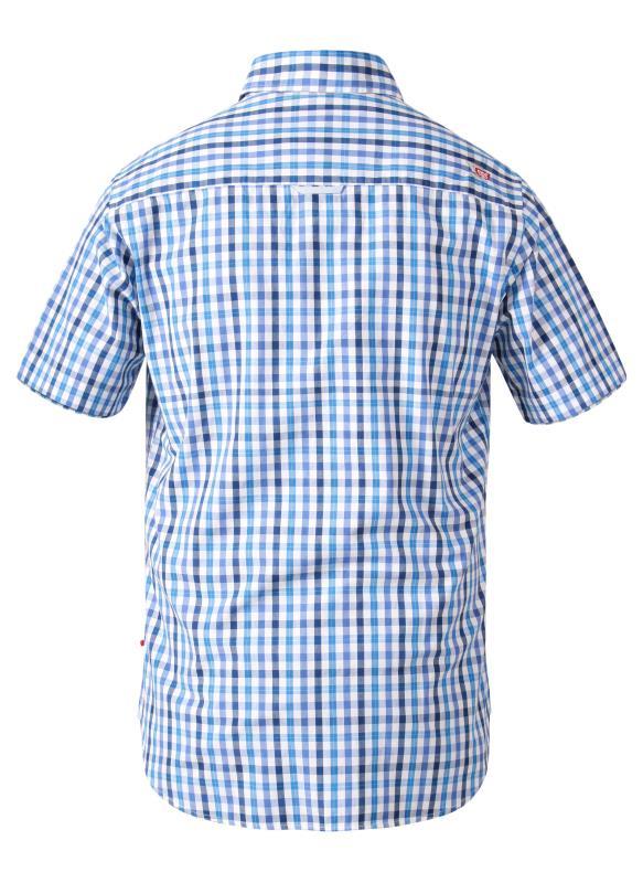 D555 Blue Gingham Check Short Sleeve Shirt