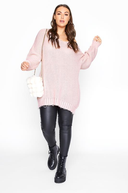 Pink Distressed Oversized Knitted Jumper