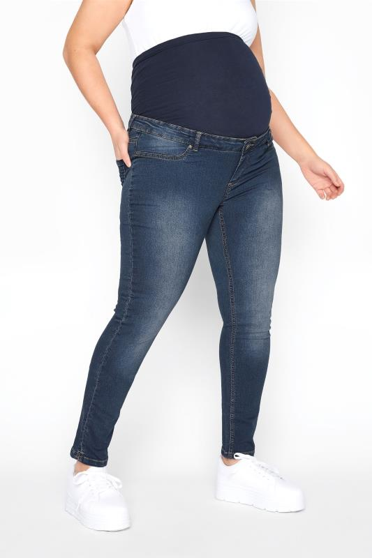 Plus Size  BUMP IT UP MATERNITY Blue Skinny Jeans With Comfort Panel