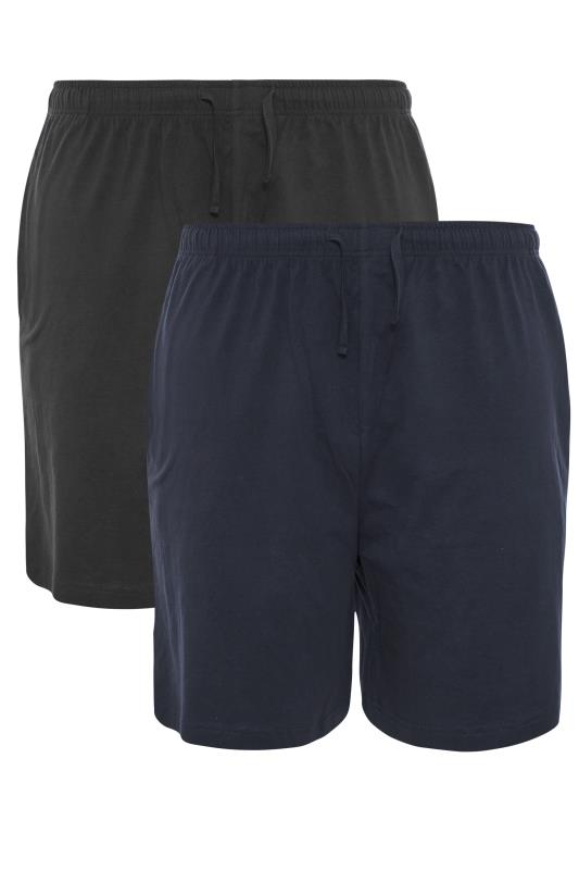 Tallas Grandes ESPIONAGE Black and Navy Twin Pack Shorts