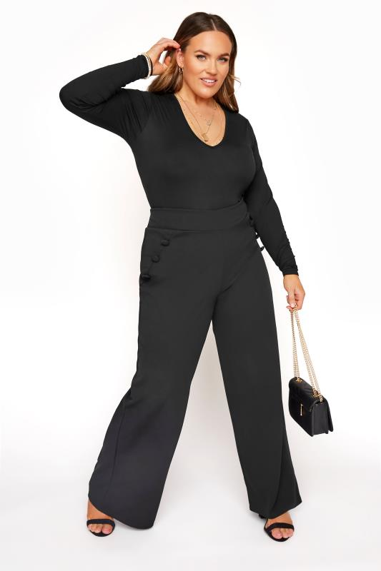Plus Size  YOURS LONDON Black Button Crepe Wide Leg Trousers