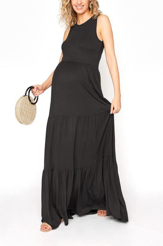 LTS Maternity Black Tiered Maxi Dress_B.jpg