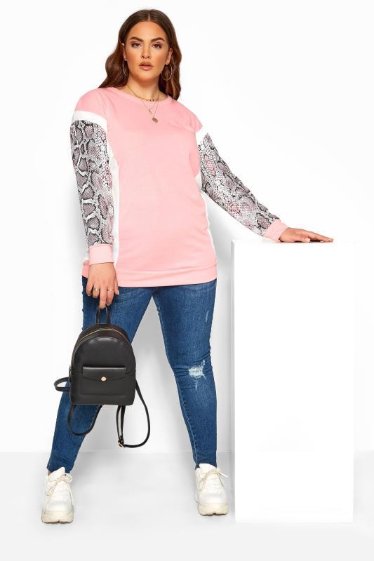 Pink Snake Print Trim Sweatshirt
