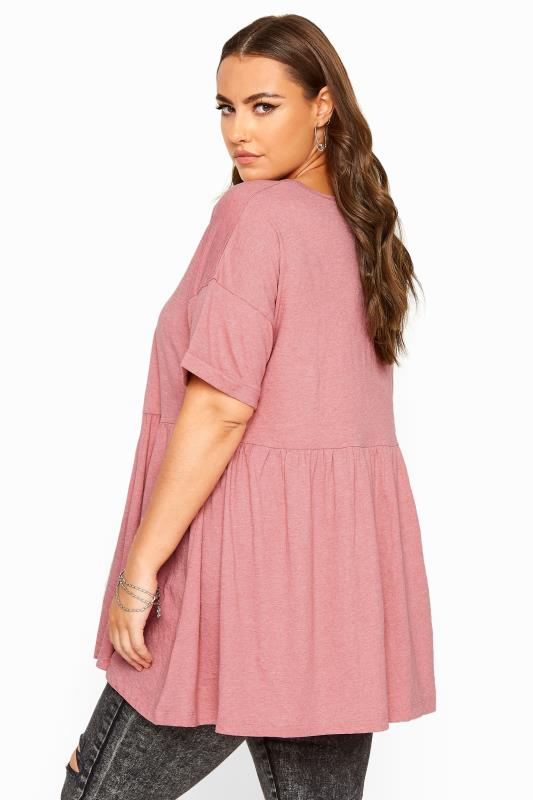 Blush Pink Drop Shoulder Peplum Top