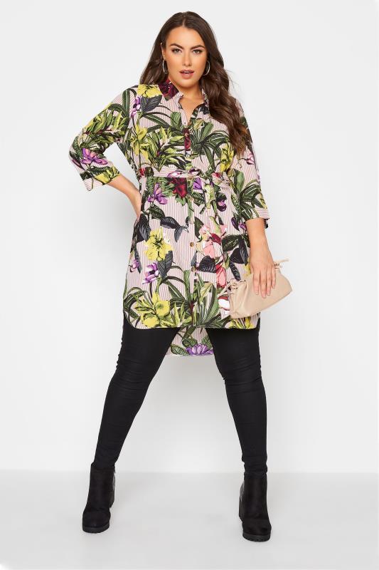 Plus Size  Pink Floral Print Shirt Dress