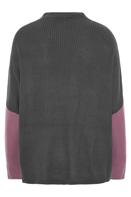 Purple Colour Block Oversized Knitted Jumper_F.jpg