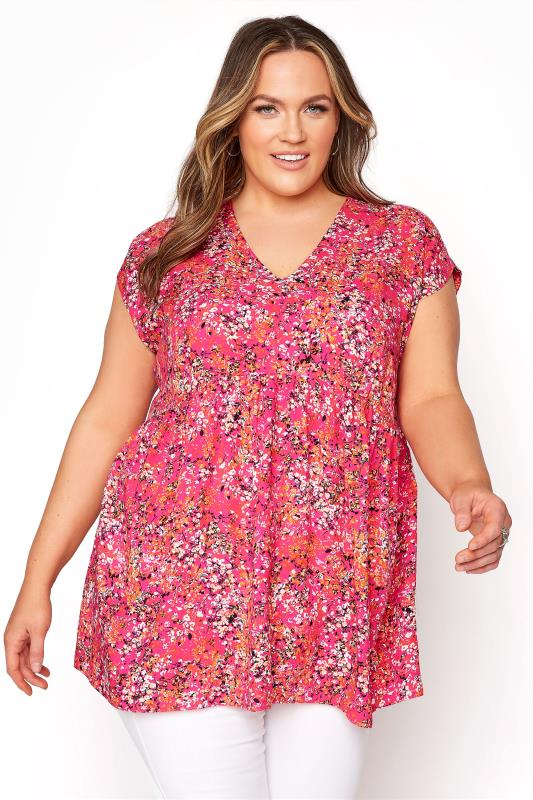 YOURS LONDON Pink Floral Print Dipped Hem Tunic