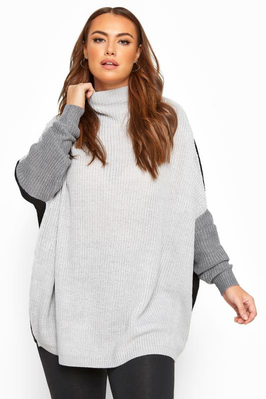 Großen Größen Jumpers Grey Colour Block Oversized Knitted Jumper