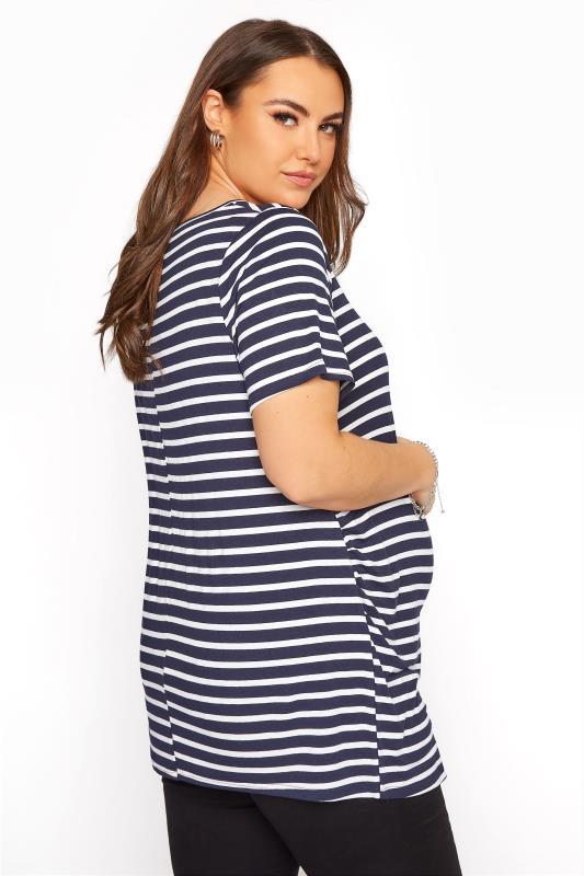 BUMP IT UP MATERNITY Navy Stripe Short Sleeve T-Shirt_C.jpg