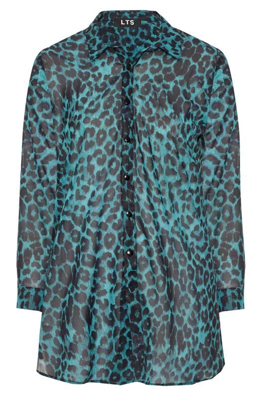 Tall  Teal Blue Leopard Chiffon Shirt