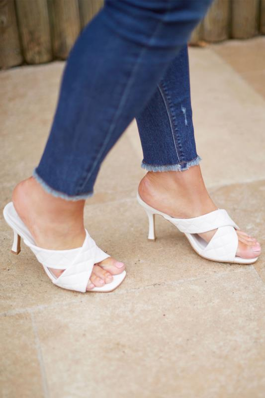 LIMITED COLLECTION White Cross Quilted Stiletto Mules In Extra Wide Fit_L.jpg