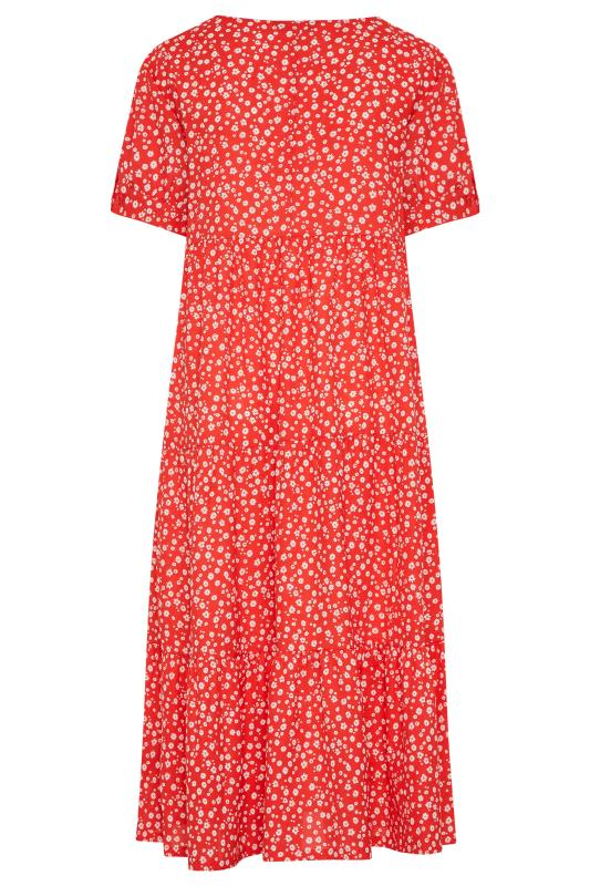LIMITED COLLECTION Red Daisy Print Tiered Maxi Dress_BK.jpg