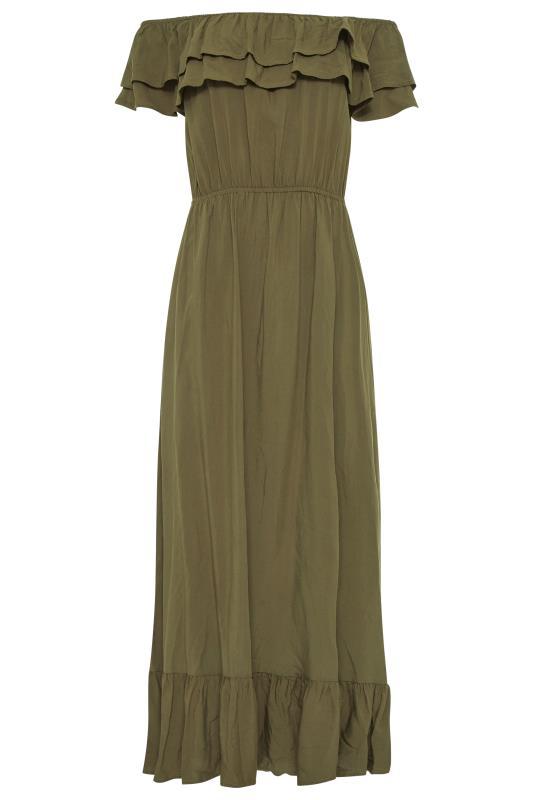 LTS Khaki Double Frill Bardot Midi Dress_F.jpg