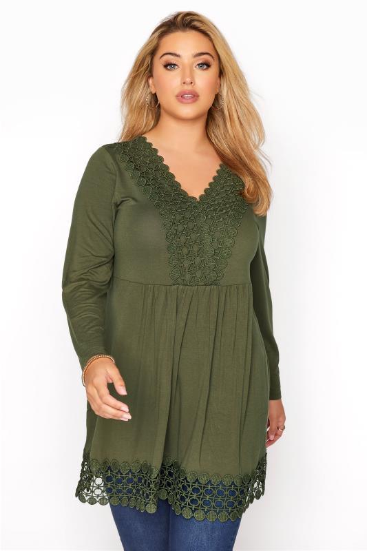 Plus Size  Khaki Crochet Trim Tunic