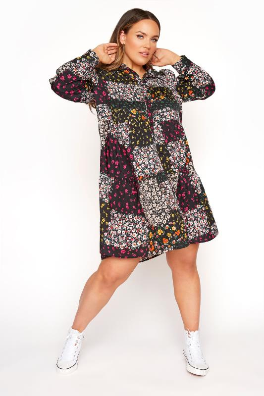 Plus Size  LIMITED COLLECTION Black Floral Patchwork Shirt Dress