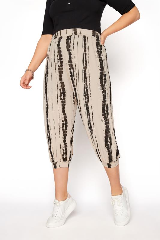 Plus Size  Natural Linear Tie Dye Cuffed Harem Trousers
