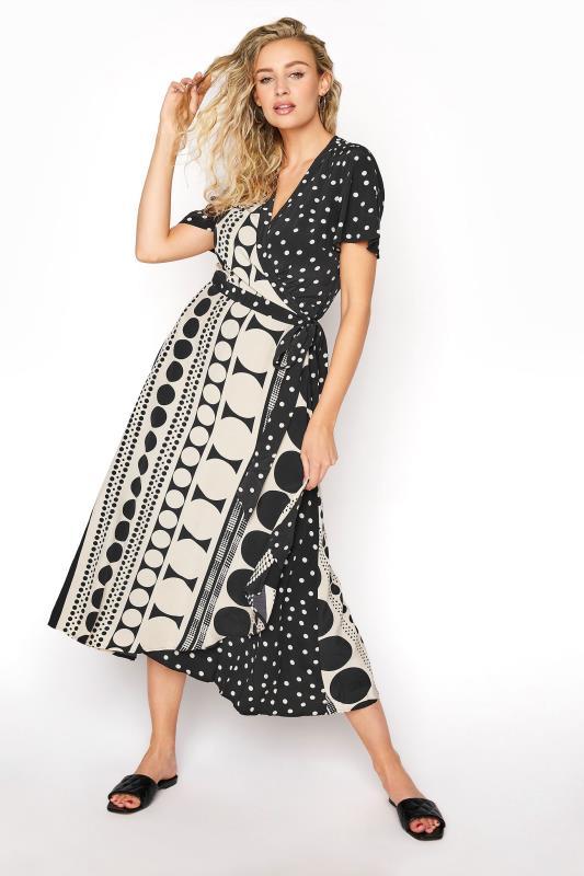 Black Spot Print Midi Wrap Dress