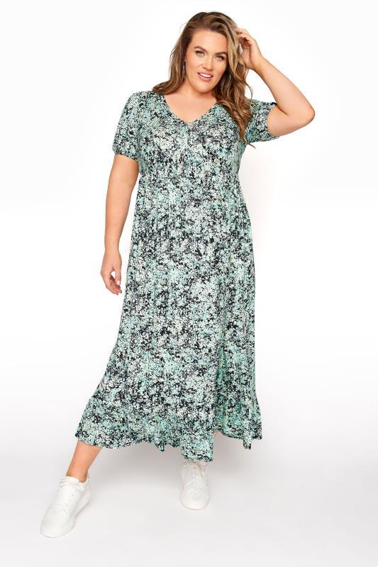 YOURS LONDON Green Floral V-Neck Frill Hem Dress_A.jpg