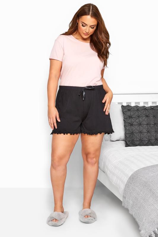 Black Cotton Pyjama Shorts With Frill Trim_055251B.jpg