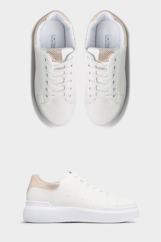 LIMITED COLLECTION White and Rose Gold Flatform Trainer In Wide Fit_A.jpg