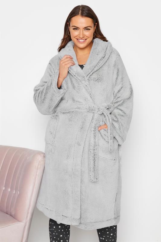 Plus Size  Grey Super Soft Shawl Collar Dressing Gown