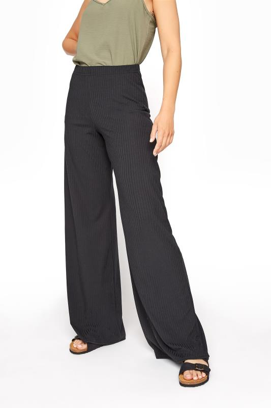 LTS Black Ribbed Wide Leg Trouser