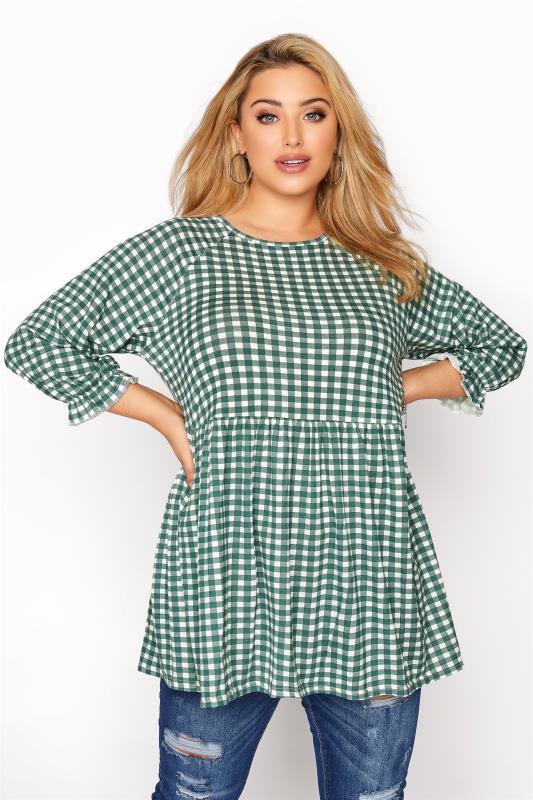 Plus Size  LIMITED COLLECTION Green & White Gingham Raglan Top