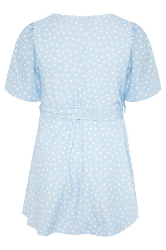 YOURS LONDON Blue Polka Dot Puff Sleeve Top_BK.jpg