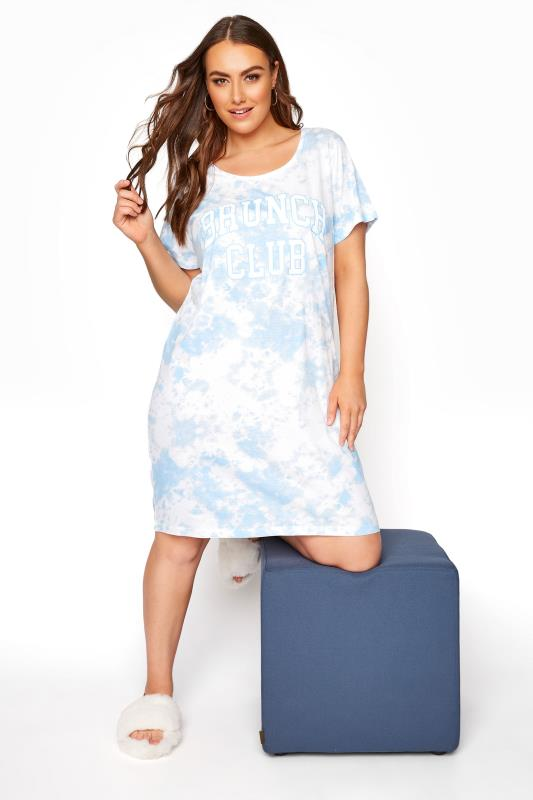 Light Blue Tie Dye Varsity 'Brunch' Dipped Hem Nightdress_A.jpg